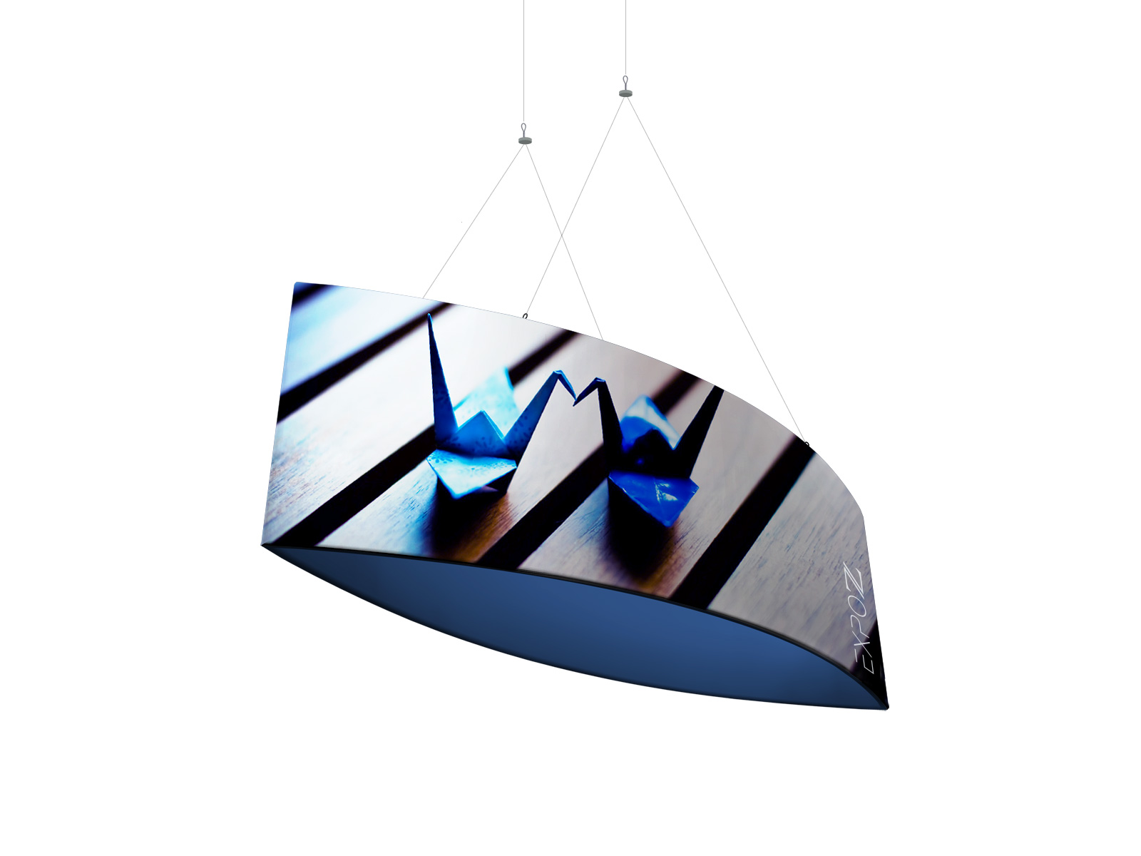 Suspended sign ellipse 3 x 0.6 x H1 m